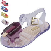 mini melissa 2017 new summer children jelly sandals girls&boys Ice cream princess shoes baby kids popsicle antiskid beach shoes