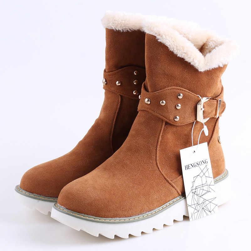 HENGSONG Warme Faux Pelz Wasserdicht Schnee Stiefel 2018 Marke Frauen Winter Boot Warme Schuhe Antiskid Flexible Dame Mode Casual Stiefel