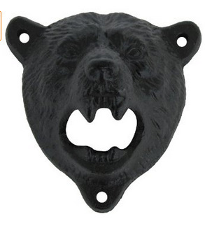 cast iron bear shaped hang wall mounted bottle opener