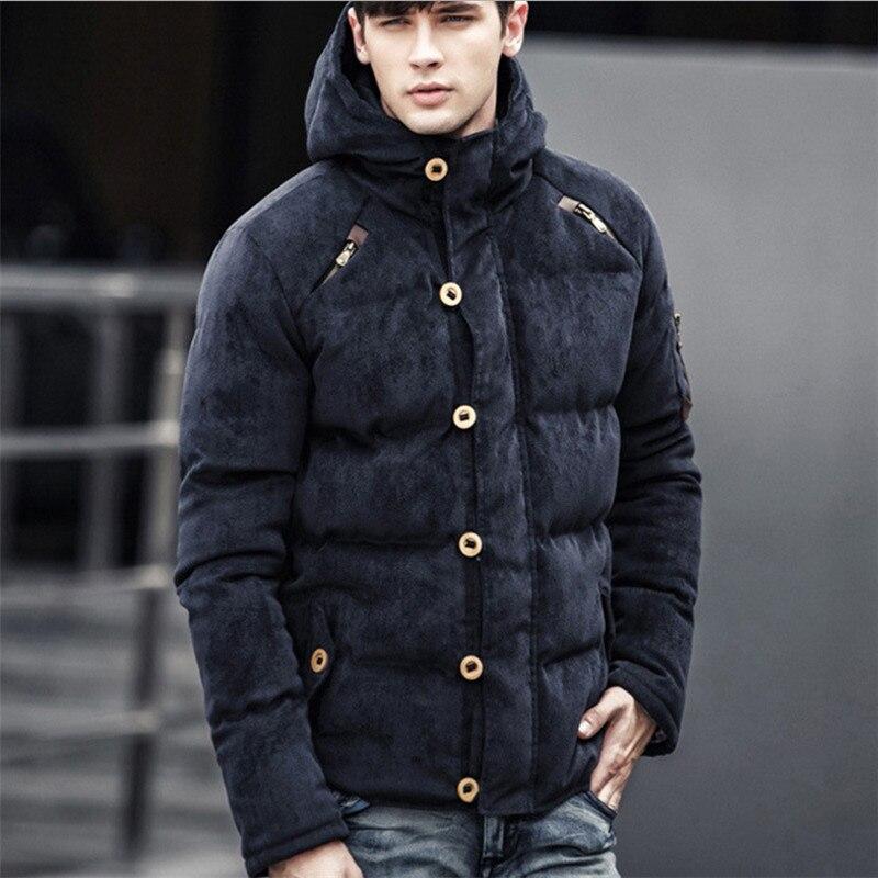 2017 hiver velours côtelé Parka veste angleterre Style solide à capuche épais hiver mâle ouatine veste M-XXXL