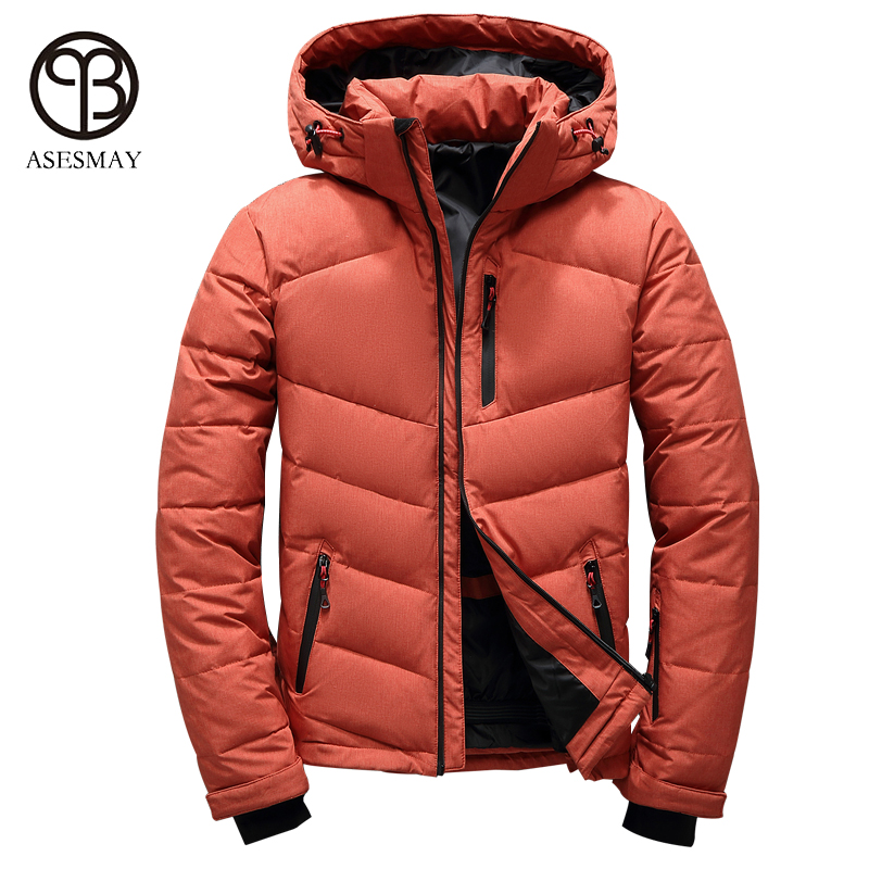 Asesmay 2017 casual men down jacket new brand clothing winter coat mens goose feather white duck down parka high quality coats