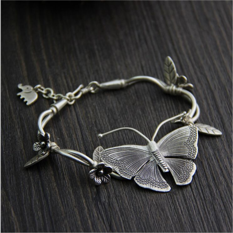 Thai Chiang Mai handmade silver butterfly bracelet S925 sterling silver retro ethnic style ladies
