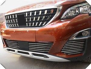 Image 4 - Misura per Peugeot 3008/GT 5008GT 2016 2019 Car Styling griglia anteriore in acciaio inox griglie da corsa Trim 26 accessori per Auto