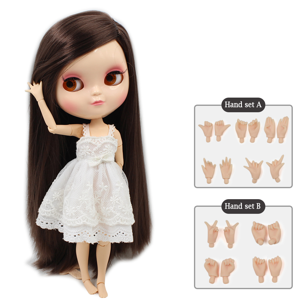 ICY DOLL free shipping small breast azone body fortune days 280BL0222 brown straight hair side part 30cm with hand set ...