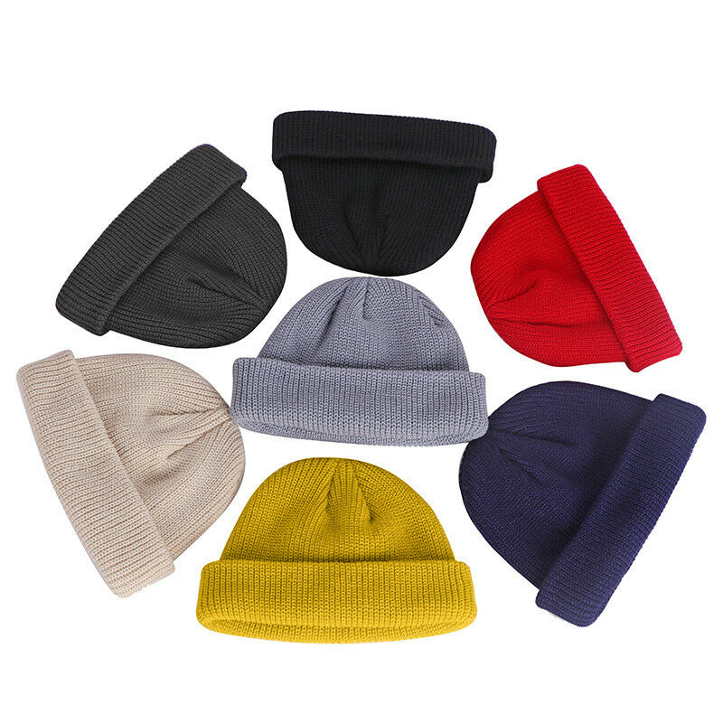 Winter Warm Unisex Men Women   Beanie   Hat Ribbed Turn Ski Fisherman Docker Hat Solid Knitted   Skullies     Beanies   Hat