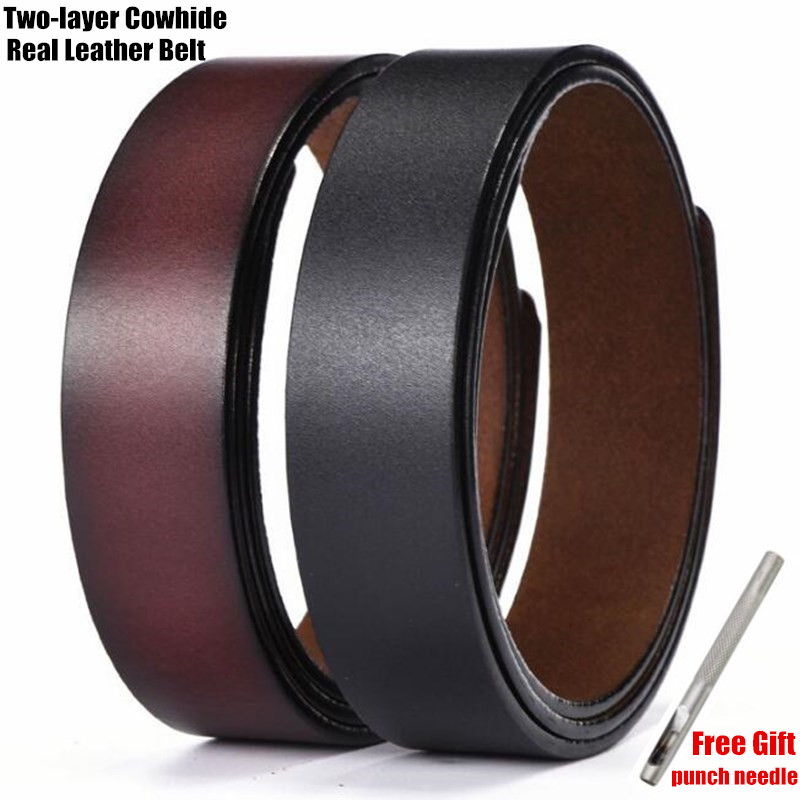 Mens Original Leather Belts with Double Hole Buckle in Brown