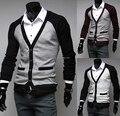 O envio gratuito de 2016 Novos homens da Moda Inverno Faixa de Bolso Duplo Único Breasted Camisola, tamanho M-2XL dos homens Com Decote Em V