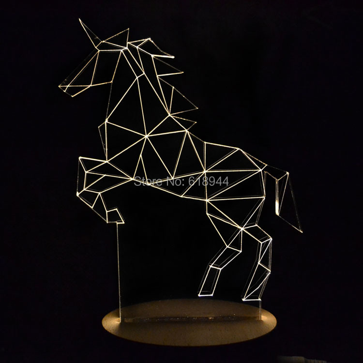 ФОТО Wooden Modern LED 3D Table Lamps Creative Personality  Bedroom Bedside Night Light Lampe Deco Birthday Gift Unicorn