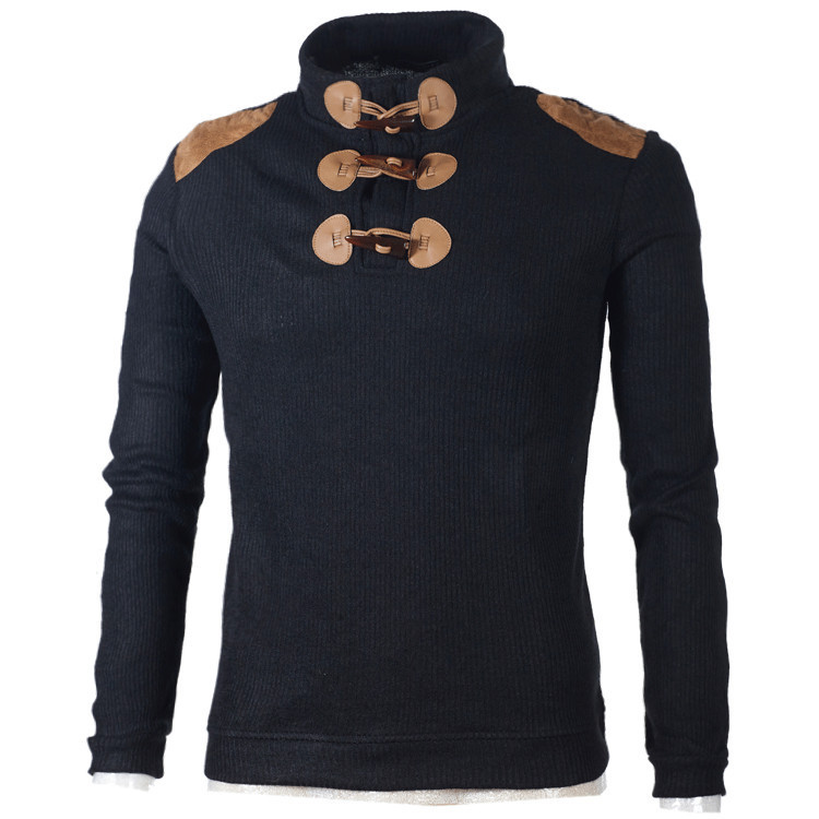 Sweater Clothing Korean-Version Men Men's Casual Fashion Long-Sleeved Hot Button Personality