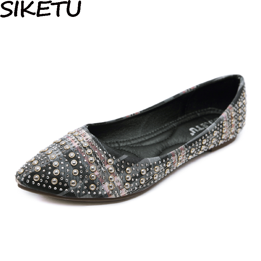SIKETU Women Bohemia Ethnic Casual Flat Shoes Rivets String Bead Ballet Flats Mocaasins Slip On Loafers Boat Shoes Plus Size 42 charming nice siketu 2017 fashional women flats shoes slip on comfort shoes flat shoes loafers best gift drop shipping y30