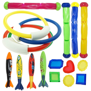 18PCS Diving Game Toys Set Swimming Pool Throwing Toy Dive Swim Rings Circle Underwater Kids Summer Gift Beach Pool Accessories(China)