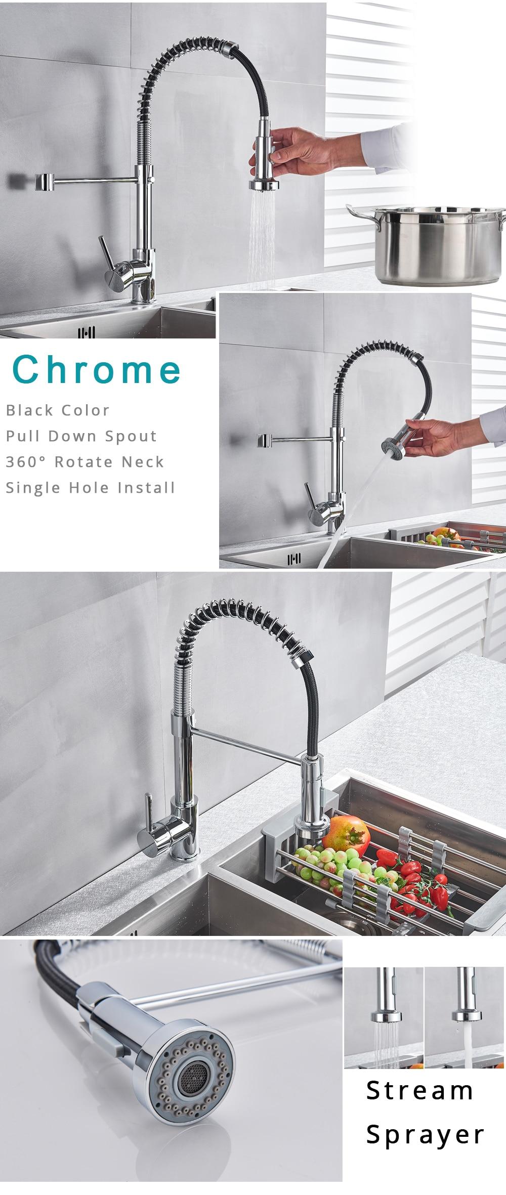 HTB1HfBYXfb2gK0jSZK9q6yEgFXa6 Rozin Matte Black Kitchen Faucet Deck Mounted Mixer Tap 360 Degree Rotation Stream Sprayer Nozzle Kitchen Sink Hot Cold Taps