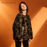 Modstreets Women Camouflage Hoodies 2017 Winter Plush Sweatshirt Female Camo O Neck Tracksuit Street Fashion Woman