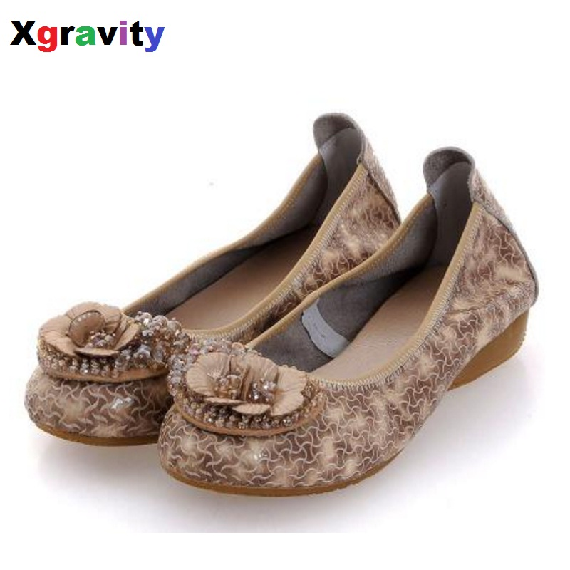 Hot Sale Size 34-40 Lady Flat Shoes Elegant Comfortable Woman's Leisure Ballet Flats Genuine Leather Student Foldable Shoes C073