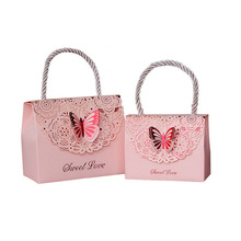 10pcs/lot butterfly Hollow Tote bag wedding Gift paper Small Packing box candy Cookie thank you