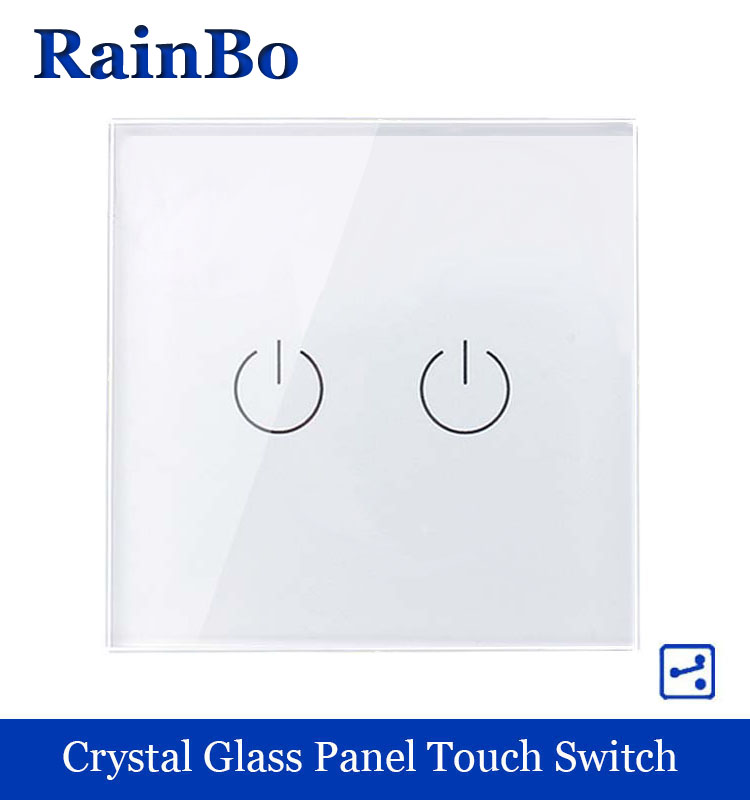 rainbo Touch Switch Screen  Crystal Glass Panel wall switch EU Standard 110~250V  Light Switch 2gang2way for LED Lamp A1922W/B uk standard black crystal glass panel 2 gang 2 way wall switch intelligent touch screen light touch switch led ac 220v