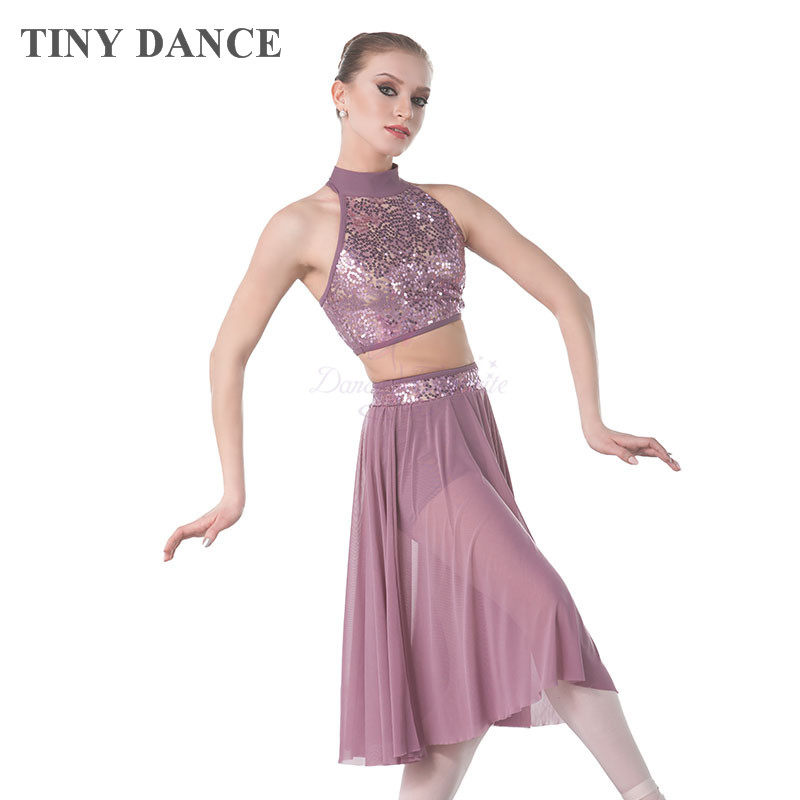 0cb39471a Purple Grey Sequin Lace Bodice Lyrical   Contemporary Dance Costume for  Child and Adult Halter Neck
