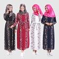 Hot new 2016 Hui Muçulmano mangas compridas vestido de alta elástica pérola de Paris moda padrão das mulheres robes vestidos atacado