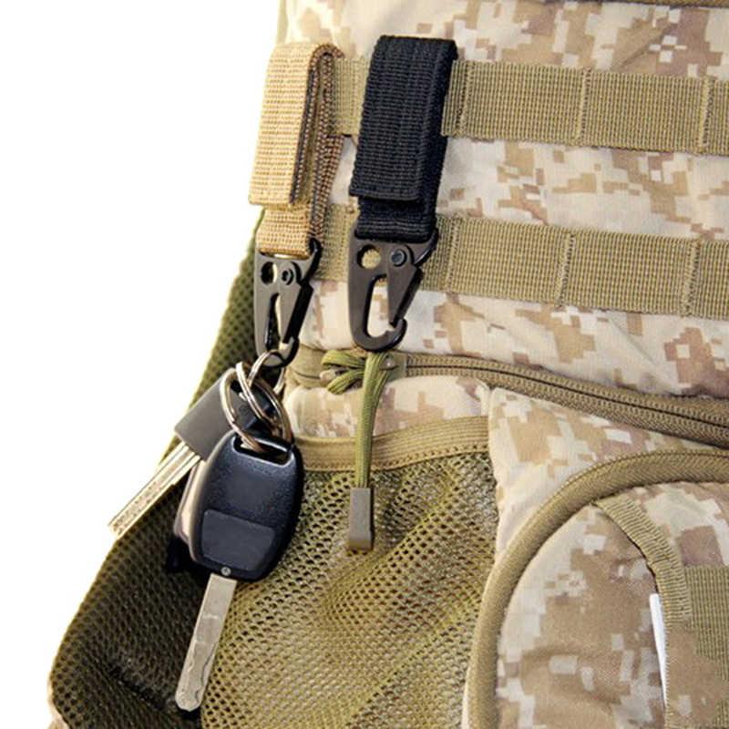 Nylon Keychain Clasp Cắm Trại Ngoài Trời Chiến Thuật Carabiner Ba Lô Móc Olecranon Molle Móc Survival Bánh EDC Quân