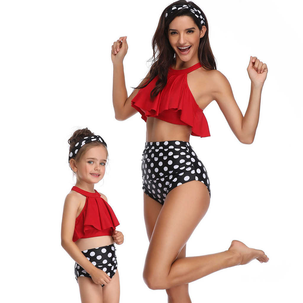 Fashion Mother And Daughter Print Sexy Bikinis Two Piece Swimsuit Matching Swimsuit Clothing Beachwear Bikini Set L301213 Finely Processed Novelty & Special Use Yoga Socks