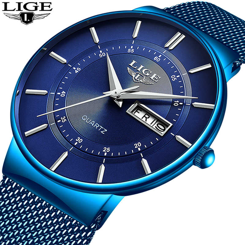 2019 LIGE New All Blue Fashion Creative Watch Mens Watches Top Brand Luxury Casual Slim Mesh Watchband Waterproof Quartz Watch