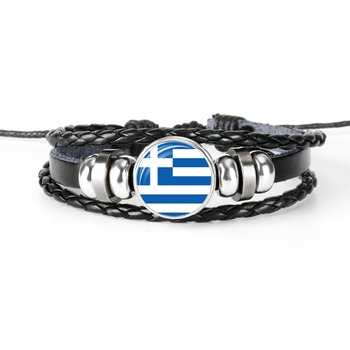 ITALY GREECE ALBANIA ANDORRA BULGARIA CROATIA SAN MARINO Southern Europe National Flag Glass Cabochon Leather Bracelet Men Women image
