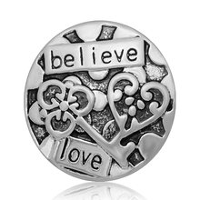 "New KZ2103 Beauty ""Believe&love"" Pattern Lock and key 18mm charm charm snap buttons fit DIY charm snaps jewelry wholesale(China)"