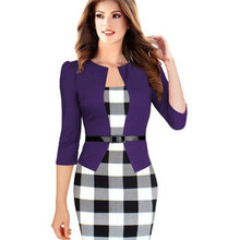 Echoine Women Elegant Belted Plaid Work Clothing Business 3/4 Sleeve Casual Bodycon Sheath Dresses Fake 2 Piece Office Dress
