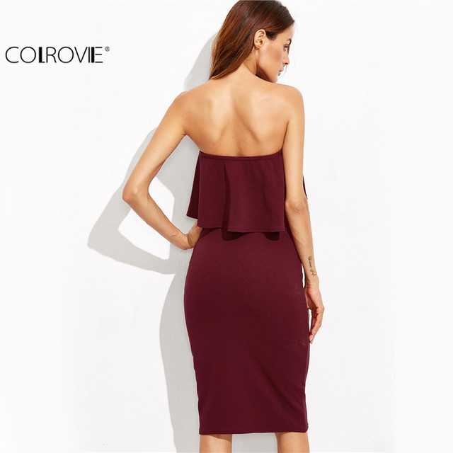 COLROVIE Woman Party Dresses Elegant Evening Autumn Dresses for Woman Burgundy Ruffle Bandeau Pencil Knee Length Dress