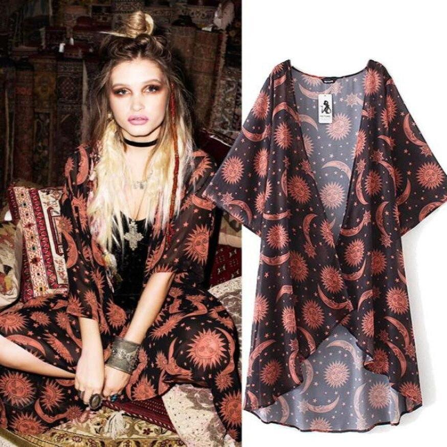 8b774d3d9968 Women Floral Print Chiffon Loose Shawl Kimono Cardigan Top Summer Beach  Cover up Shirt Blouse Coat
