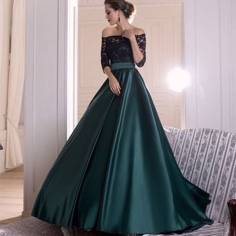Off Shoulder Prom Dresses With Half Sleeves Black Lace Top Dark Green Satin Skirt Women Formal Party Dress A-line Prom Gowns