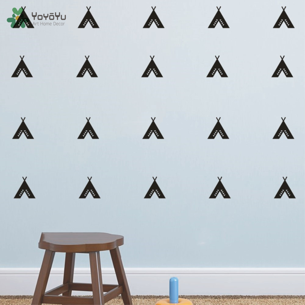 ∞Set Of 30 Fashion Teepee Vigvam Triangles Wall Sticker DIY