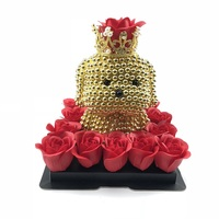 15cm DIY golden pearl dog lucky dog with Soap flower and gift box DIY material crown decoration for Wedding Girlfriend Gift