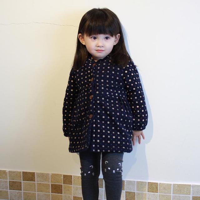 Crianças Polka Dot Bonito de Veludo Princesa Crianças Casaco de Inverno Meninas-Coreano de mangas compridas Casaco de Algodão Jaqueta de Inverno Snowsuit Para meninas