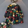 Девушка Зима животное кролик Принцесса платье Младенческой платье 2016 мультфильм Печати Дети Дети Платье для Девочек Платья Осень