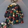 Chica de Invierno animal conejito Princesa vestido Infantil vestido de partido de 2016 Impresión de la historieta de Los Niños Vestidos de Los Cabritos para Las Muchachas Otoño