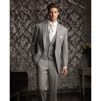 New Arrival New Classic Tailored Grey Groom Tuxedos Black Best Man Wedding Groomsman Suit Three Pieces Morning Formal Suit