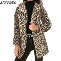 SINFEEL Fashion Women Ladies Leopard Print Faux Fur Plush Wool Coat Jacket Winter Warm Outerwear Streetwear Casaco Feminino