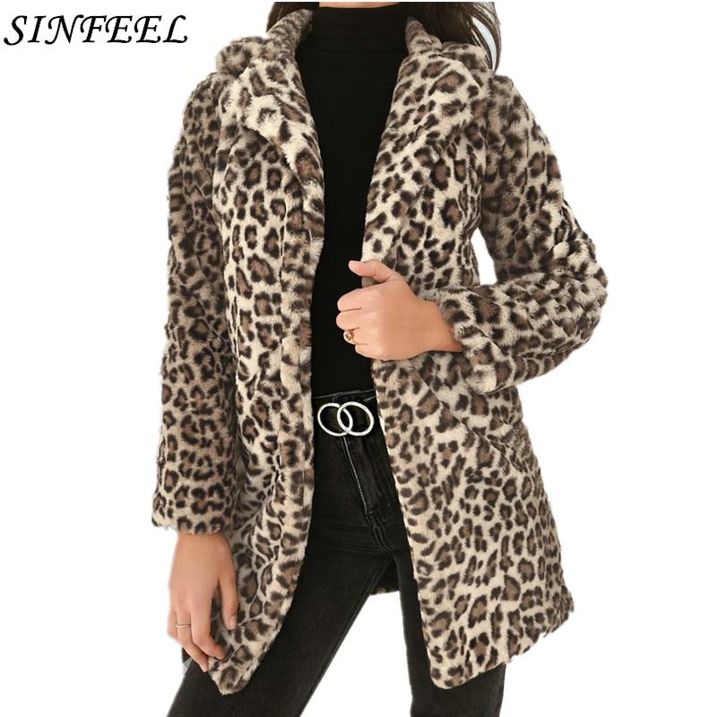 SINFEEL Fashion Women Ladies Leopard Print Faux Fur Plush Wool Coat Jacket Winter Warm Outerwear Streetwear casaco feminino jeans con blazer mujer
