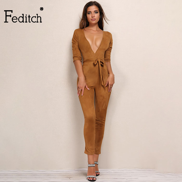 Feditch Sexy Lady Deep V Neck Bandage Bodysuit Elegant Women High Waist  Bodycon Party Jumpsuit Fashion 19837c27362b