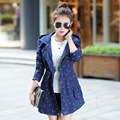2016 new Korean style women trench coat slim and long coat windbreaker female casual printing thin coat tide CT162