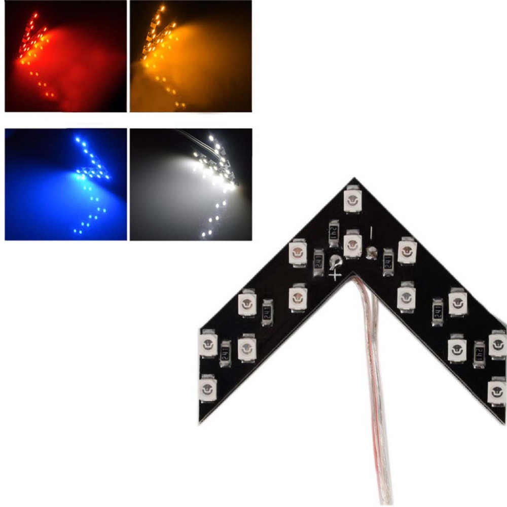 Tonewan hot 2 Pcs/lot 14 SMD LED Arrow Panel For Car Rear View Mirror Indicator Turn Signal Light Car LED Rearview mirror light