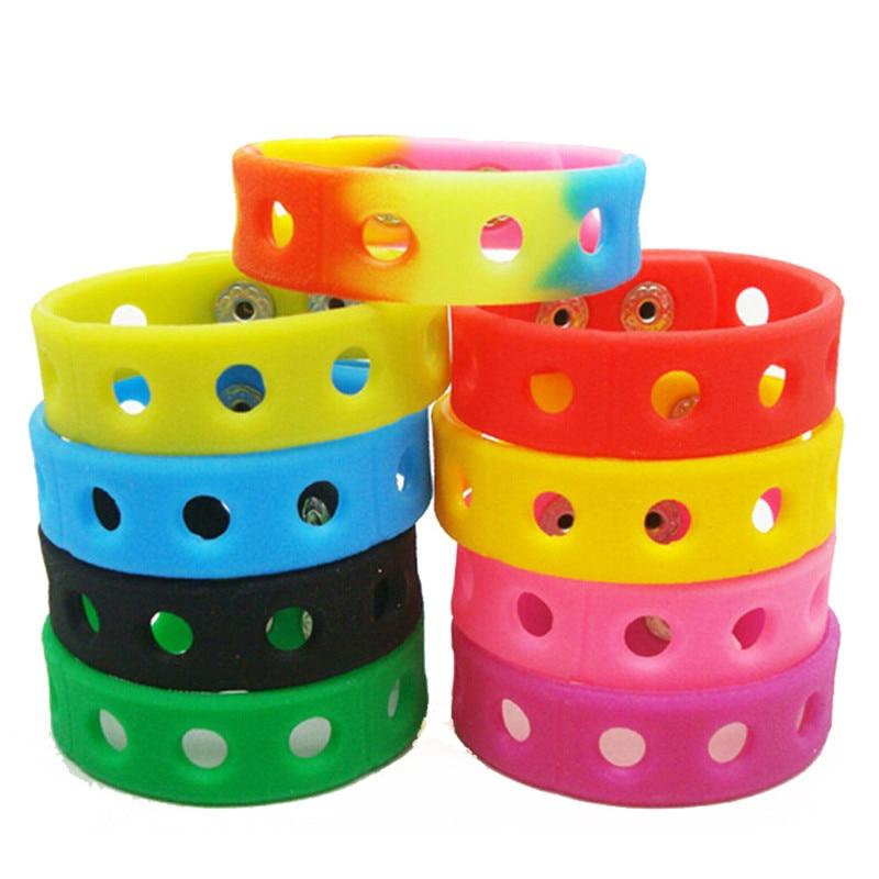 100PCS Multi color Silicone Bracelet Wristbands 18CM Fit With Shoe Croc Buckle PVC Shoe Accessories Shoe