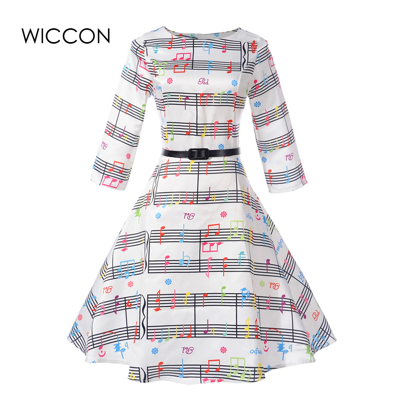 Autumn New Woman Print Dress High Waist Defined Ball Gown Vintage Dresses Women Sashes Girls Vestido Womens Clothing Cheap XXL