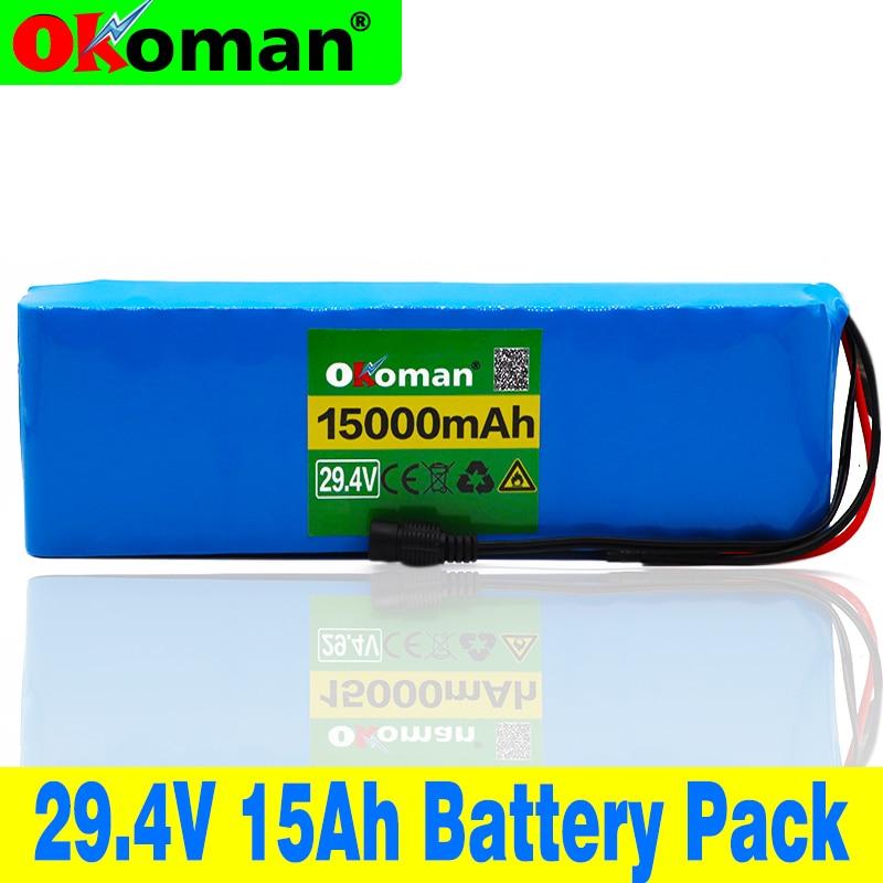 100% nouveau 7S4P 24 v li ion batterie pack 29.4 v 15Ah vélo électrique moteur ebike scooter 18650 lithium rechargeable batteries 15A