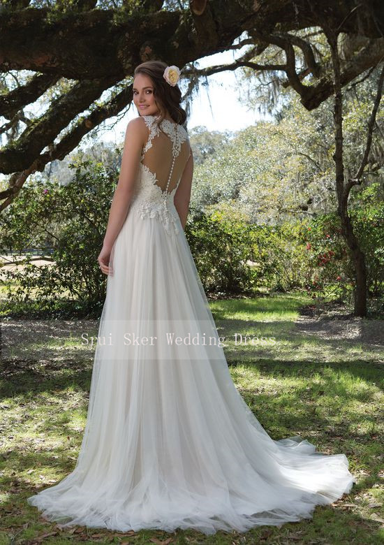 Image 5 - Charming V Neck A Line Lace Wedding Dress White/Ivory Illusion Back Tulle Wedding Bridal Gowns Long Dress-in Wedding Dresses from Weddings & Events