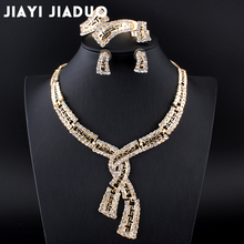 jiayi jiaduo  Wholesale Dubai Jewelry Sets of Gold Color Bridal wedding Jewelry Necklace sets Accessories Fashion for Lady Party