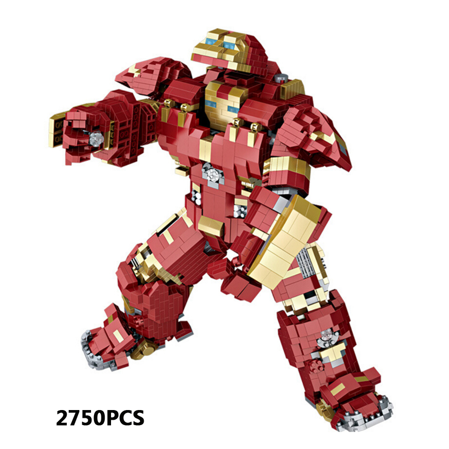 Super heroes mark44 mecha micro diamond block marvel avenger Infinity War ironman Hulkbuster mk44 nanoblock brick toy collection цена