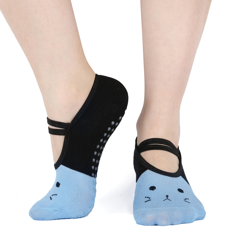 Cute Breathable Yoga Socks Women Anti Slip Sport Pilates Socks Backless Silicone Non-slip Ballet Dance Socks For Ladies Girl2019