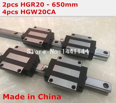 HG linear guide 2pcs HGR20 - 650mm + 4pcs HGW20CA linear block carriage CNC parts салфетки hi gear hg 5585